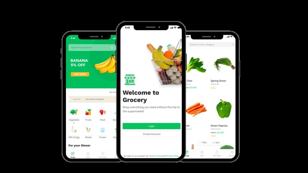 Grocery online ordering system mobile mockup