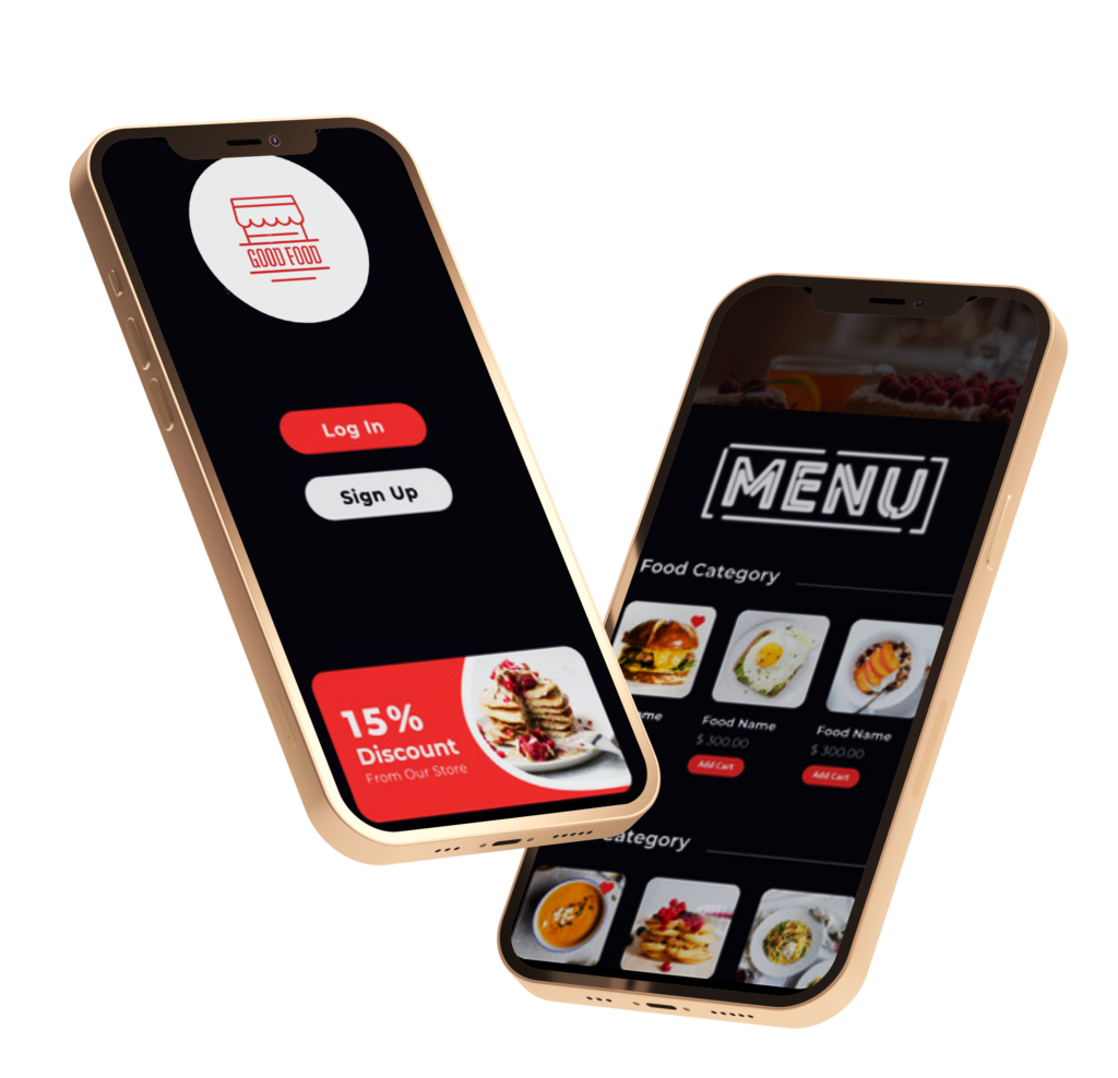 Phygital24 online ordering system restaurant app two iphone mockup