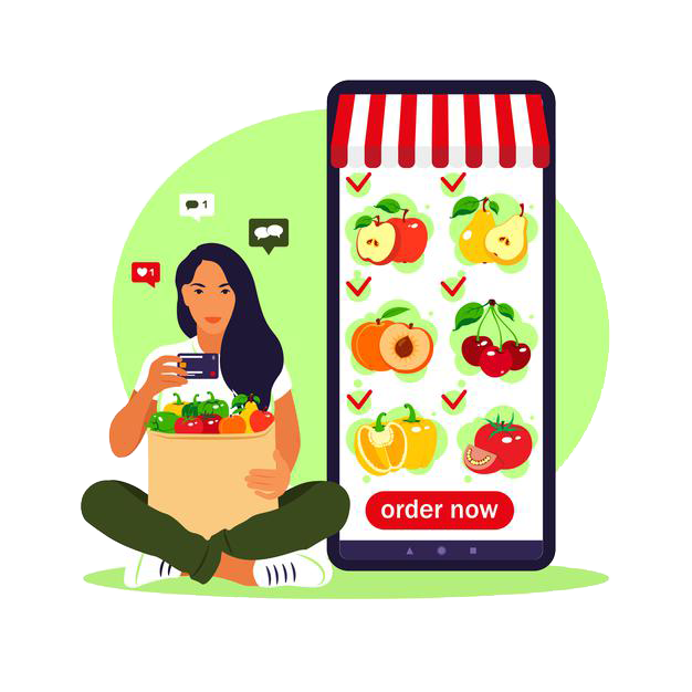 Grocery online ordering system mobile cart