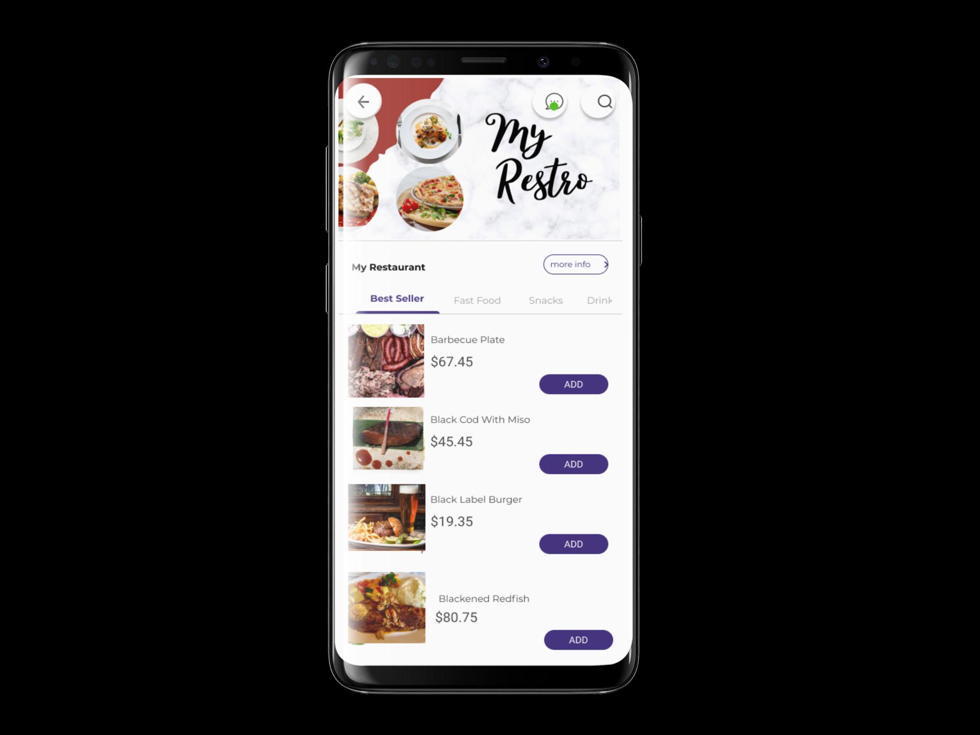 restaurant app samsung galaxy s9 mockup