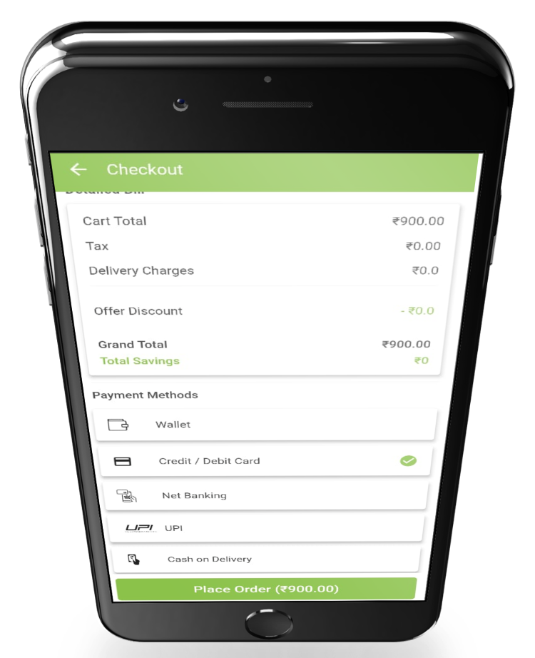 phygital24 online Restaurant app checkout screen