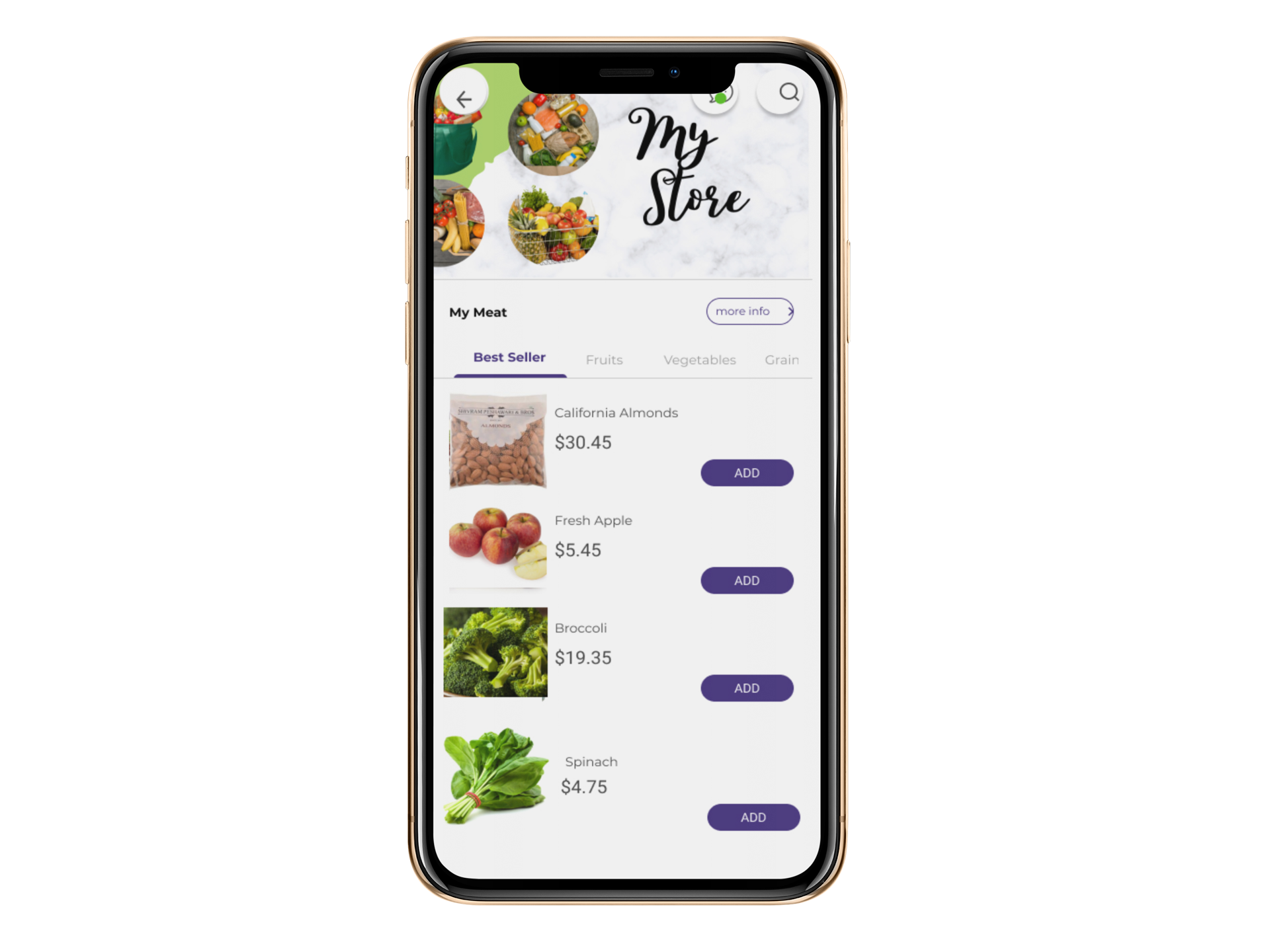 online grocery store app iphone xmockup
