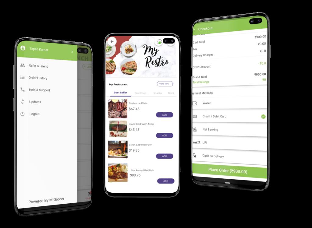 phygital24 Restaurant app galaxy s10 mockup