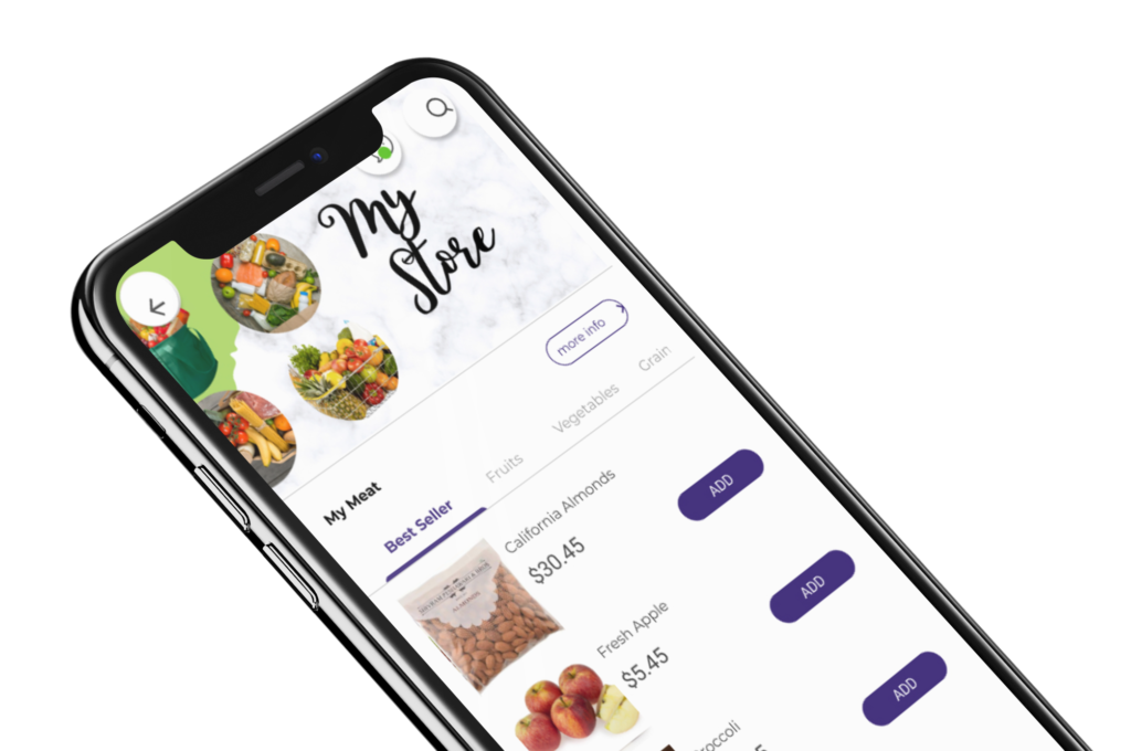 Phygital24 online grocery store app iphone x mockup